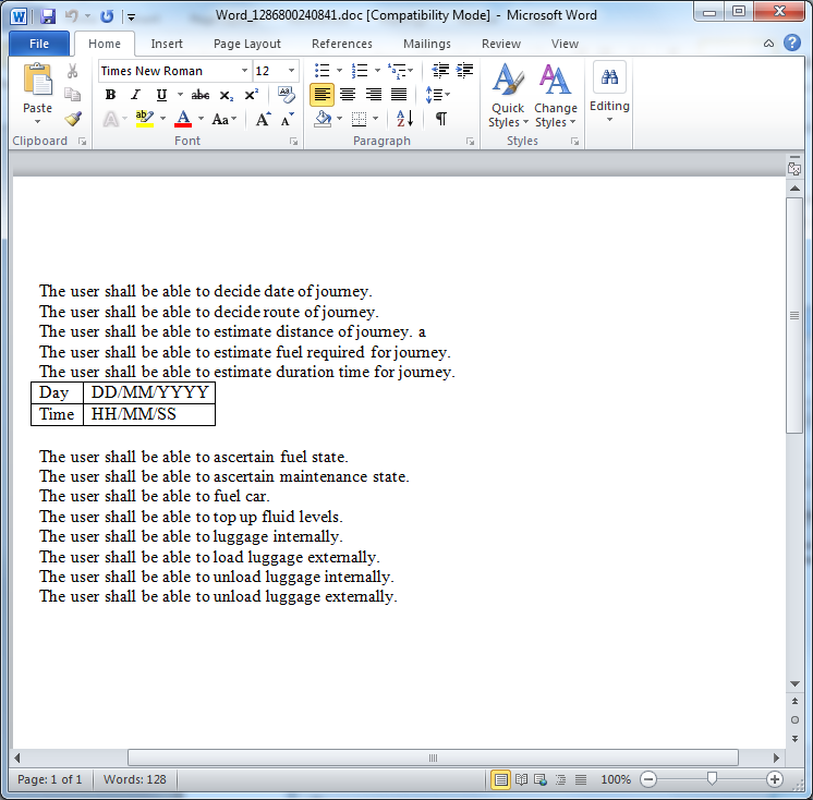 Figure 7: Final WORD output